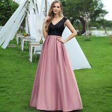 Two Tone Sequin Bodice Pleated Detail Dress