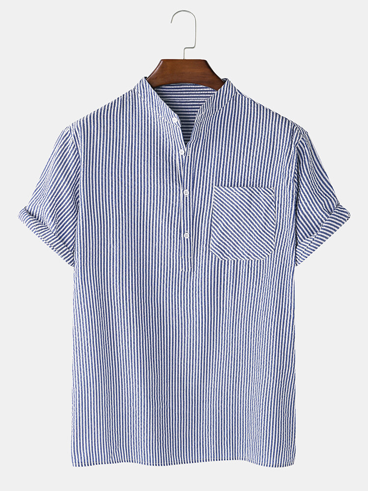 Men Cotton Bubble Pit Striped Chest Pocket Stand Collar Casual Henry shirt