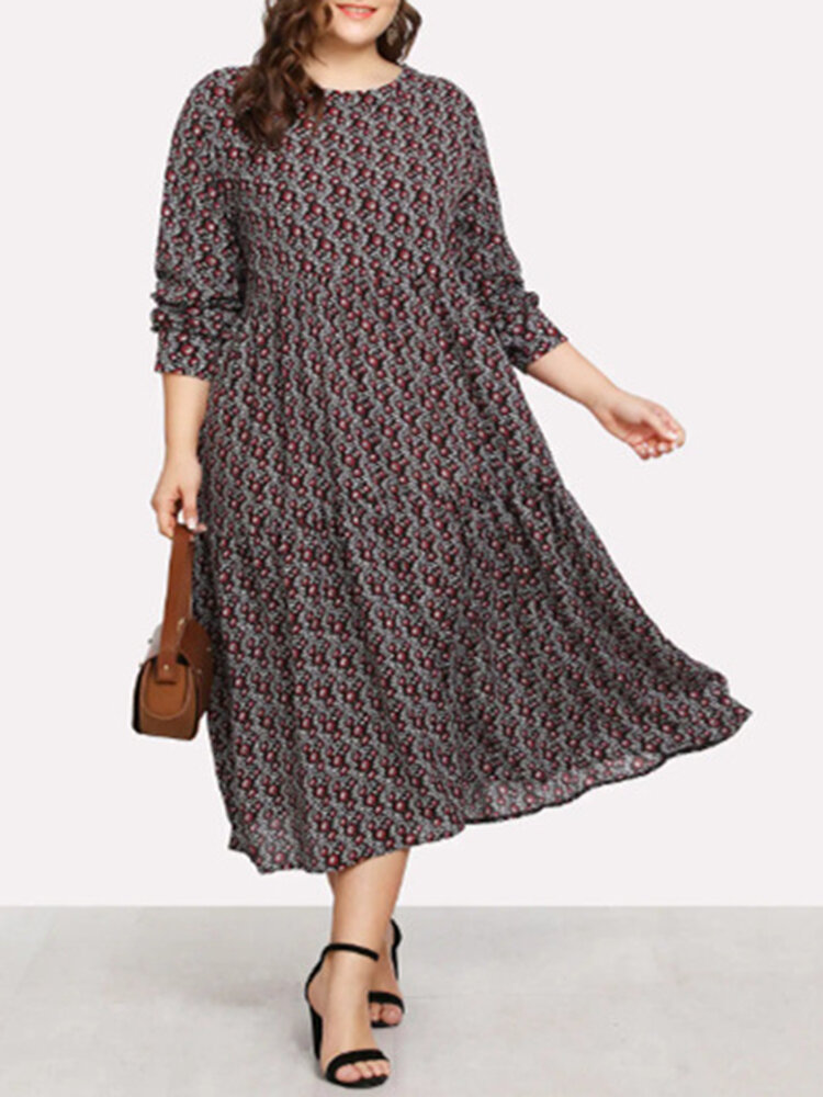 Vintage Print Long Sleeve A-line Plus Size Dress