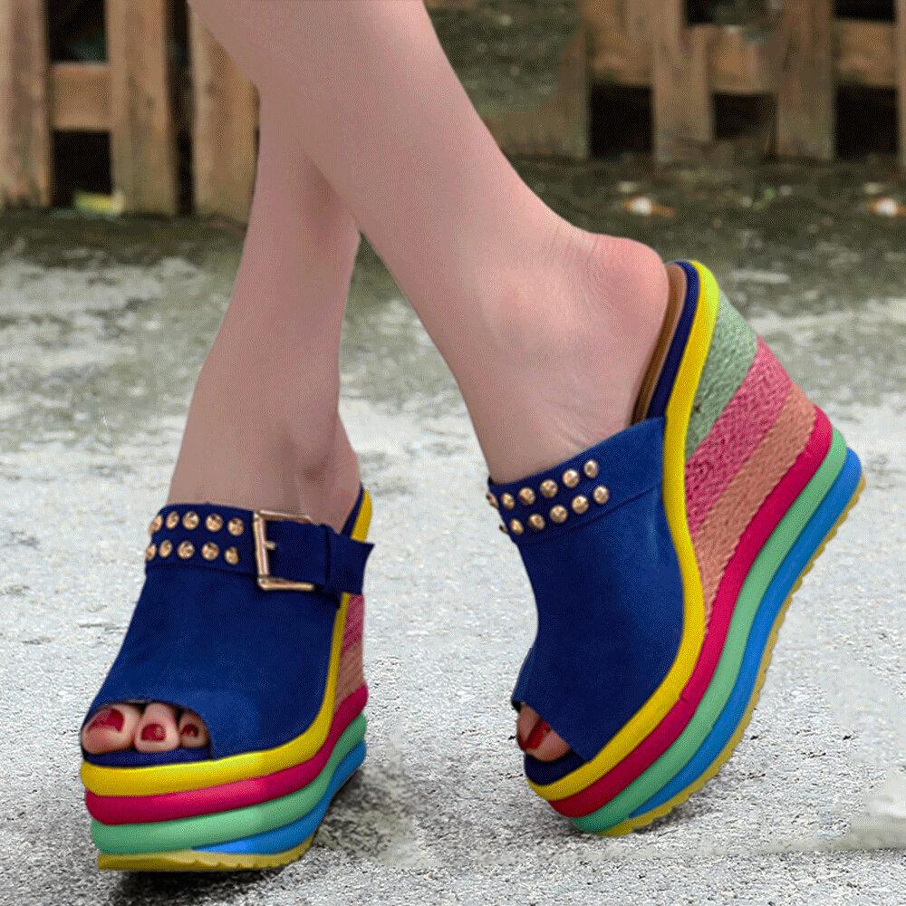 Women Rivet Peep Toe Straw Rainbow Platform Wedges Heel Slippers