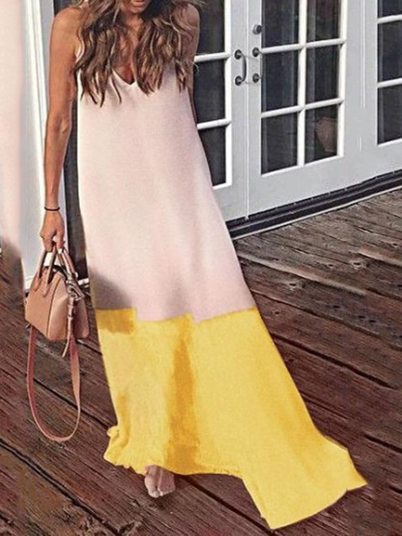 Ericdress Patchwork Casual Sleeveless Ankle-Length Spaghetti Strap Dress