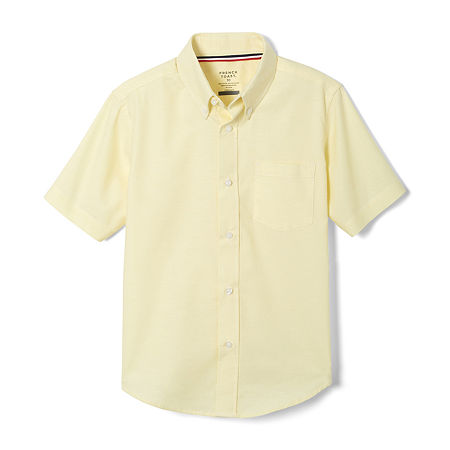French Toast Little & Big Boys Point Collar Short Sleeve Wrinkle Resistant Dress Shirt, 12 , Yellow