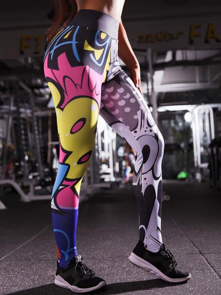 Milanoo Yoga Pants Cartoon Print Workout Leggings
