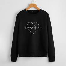 Heart & Letter Graphic Pullover