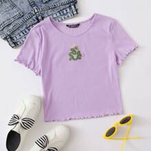Dragon Embroidery Lettuce Trim Top