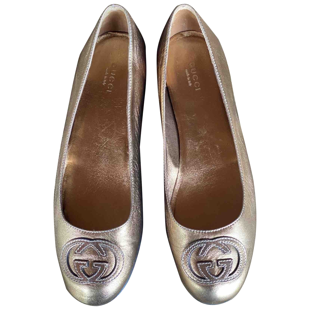 Gucci \N Gold Leather Ballet flats for Women 39 EU