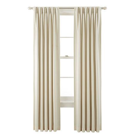 Liz Claiborne Kathryn Room-Darkening Pinch-Pleat/Back-Tab Curtain Panel, One Size , White