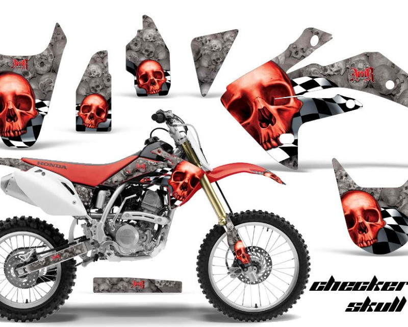 AMR Racing Dirt Bike Graphics Kit Decal Sticker Wrap For Honda CRF150R 2007-2016áCHECKERED RED SILVER