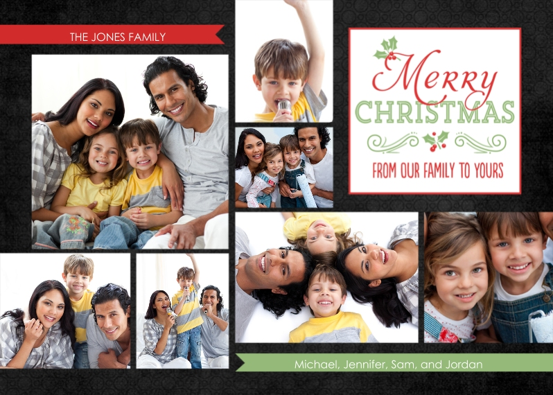 Christmas Photo Cards Flat Glossy Photo Paper Cards with Envelopes, 5x7, Card & Stationery -From Our Family to Yours