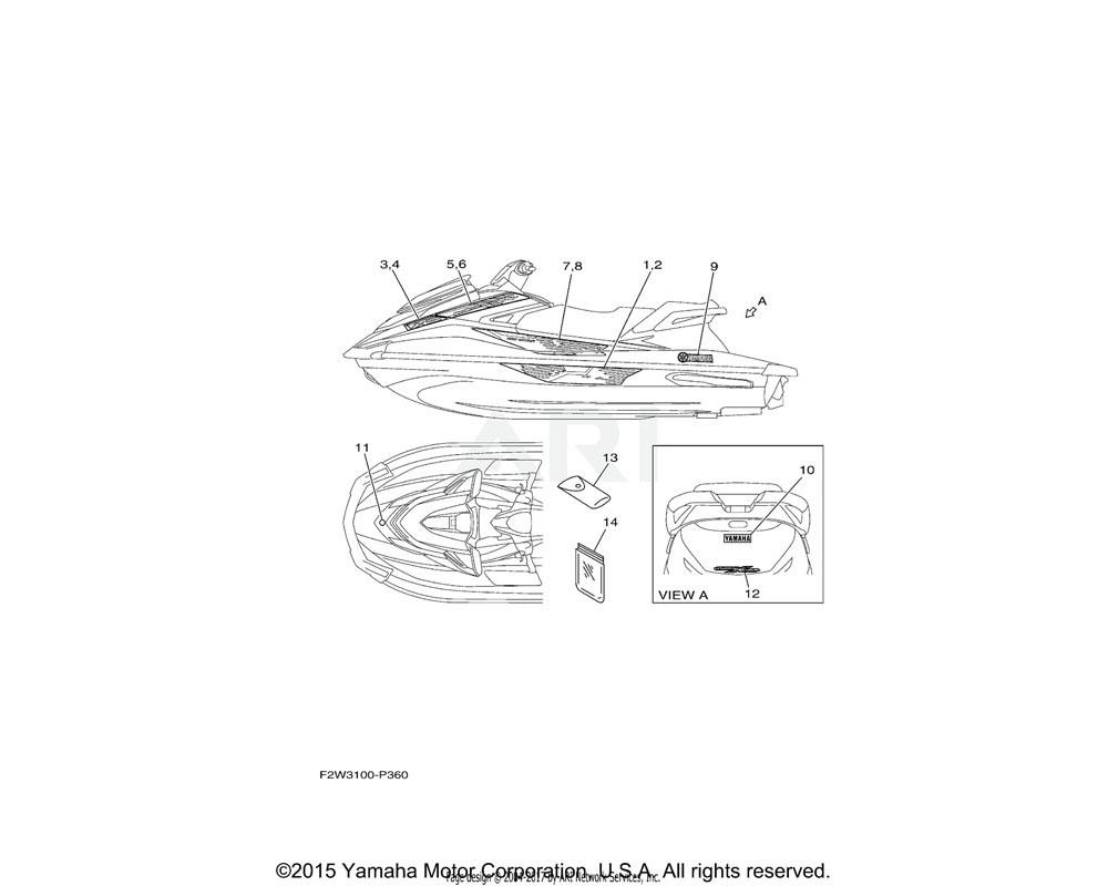 Yamaha OEM F2P-U4114-10-00 MARK, YAMAHA A