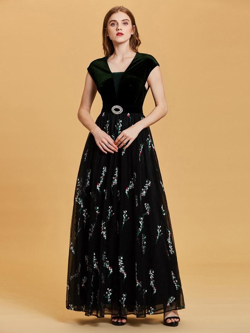 Ericdress Cap Sleeves Embroidery Velvet A Line Evening Dress