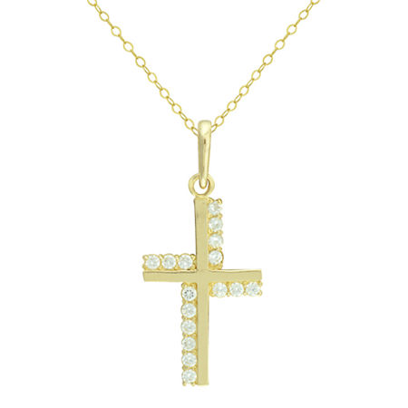 Petite Lux Cubic Zirconia 10K Yellow Gold Cross Pendant Necklace, One Size , No Color Family
