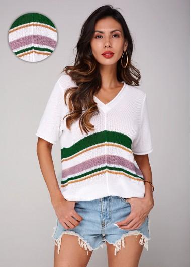 Trendy V Neck Short Sleeve Contrast Sweater - XL