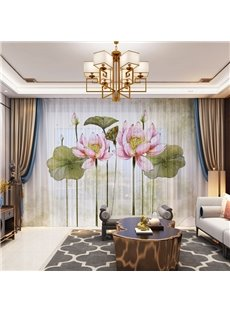 3D Chiese Style Ink and Wash Painting Lotus Flower Printed Decorative 2 Panels Custom Sheer