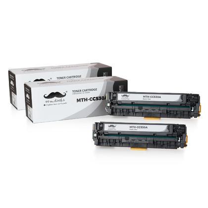 Compatible HP 304A CC530A Black Toner Cartridge - Moustache@ - 2/Pack