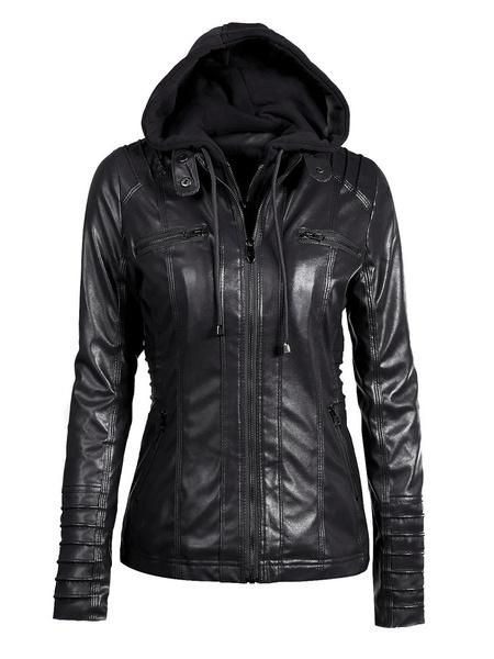 Milanoo Women Winter Jackets Brown Hooded Drawstring Long Sleeve PU Leather Jackets