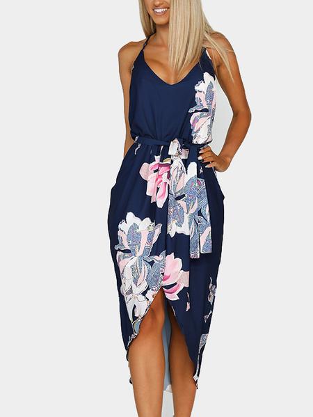 Yoins Dark Blue Random Floral Print Sleeveless Irregular Hem Dress