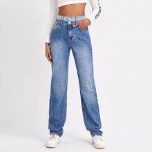 High Waist Bleach Wash Straight Leg Jeans