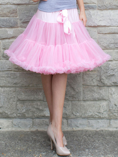 Milanoo Lolita Dress Petticoat White Sweet Tulle Ruffle Petticoat Skirt