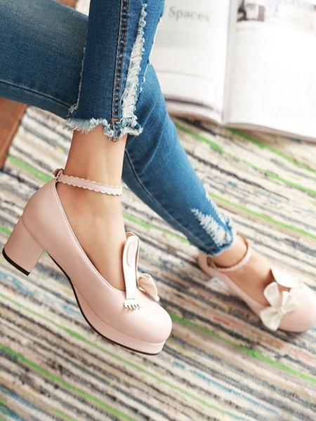 Milanoo Sweet Lolita Pumps Bunny Ear Bows PU Leather Chunky Heel Lolita Shoes
