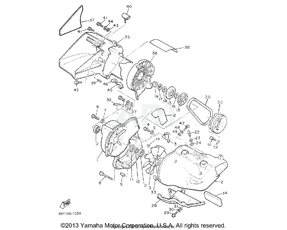 Yamaha OEM 8V0-12652-00-00 AIR SHROUD, CYLINDER 2