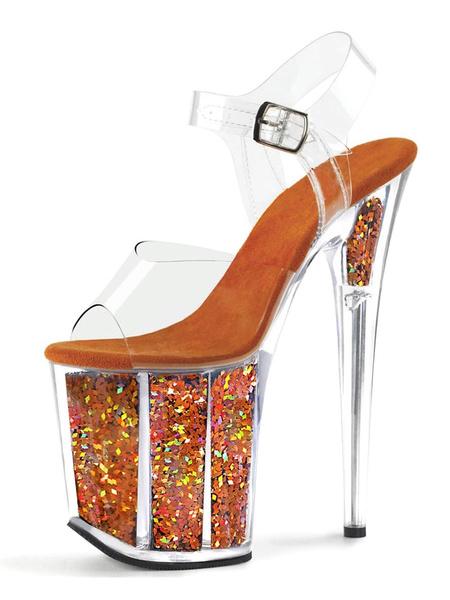 Milanoo Women Sexy Sandals Black PU Leather Peep Toe Transparent Sexy Sandals