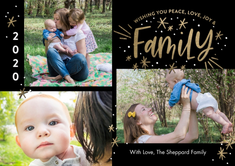 Christmas Photo Cards Flat Matte Photo Paper Cards with Envelopes, 5x7, Card & Stationery -2020 Christmas Stars Family by Tumbalina