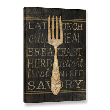 Brushstone Fork Gallery Wrapped Canvas Wall Art, One Size , Black