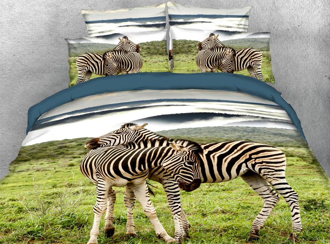 3D Wild Zebra 4-piece No-fading Bedding Sets Durable Animal Print Bedding Zipper Duvet Cover with Non-slip Ties