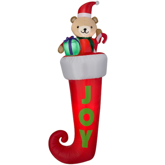 7Ft Airblown® Inflatable Christmas Stocking With Teddy Bear By Gemmy Industries | Michaels®