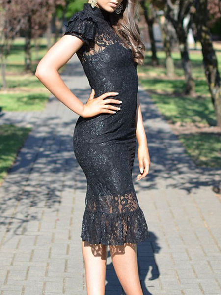 Milanoo Black Lace Dresses Sheer Jewel Neck Short Sleeves Sexy Pencil Dresses