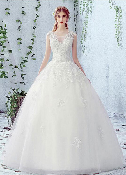 Milanoo Lace Wedding Dress Scoop Neck Sleeveless Satin Net Lace Up Bridal Dress With Beads