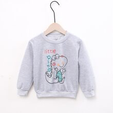 Toddler Boys Letter And Cartoon Print Sweatshirt