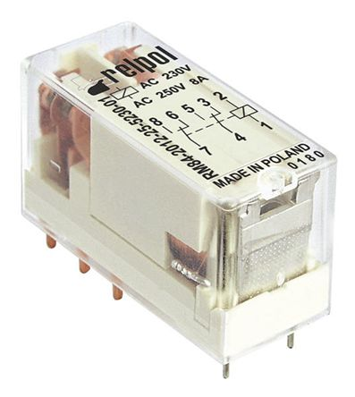 Relpol , 230V ac Coil Non-Latching Relay DPDT, 8A Switching Current PCB Mount, 2 Pole