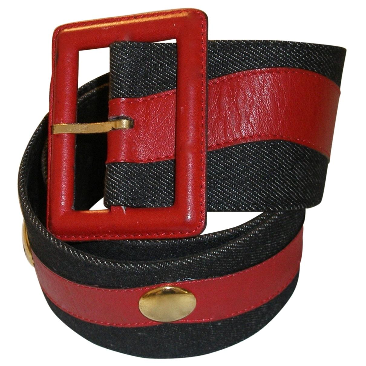 Yves Saint Laurent \N Blue Leather belt for Women 75 cm