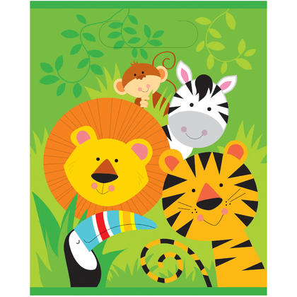 Animal Jungle Loot Bags, 8ct For Birthday Party