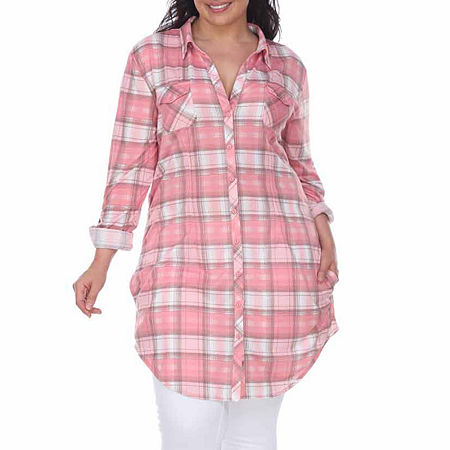 White Mark-Plus Piper Plaid Womens Long Sleeve Tunic Top, 3x , Pink