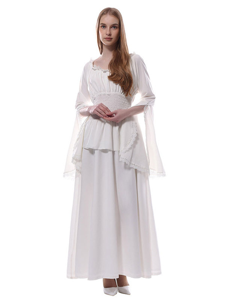 Milanoo White Medieval Dress Victorian Chiffon Maxi Halloween Costumes Women