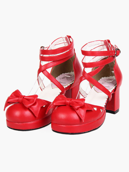 Milanoo Popular Red High Heels PU Womens Lolita Shoes