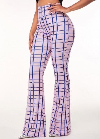 High Waist Plaid Print Flare Pants - S