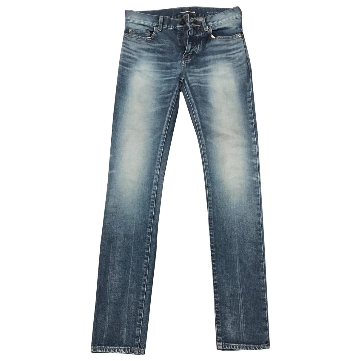 Saint Laurent - Jean   pour homme en coton - elasthane - bleu