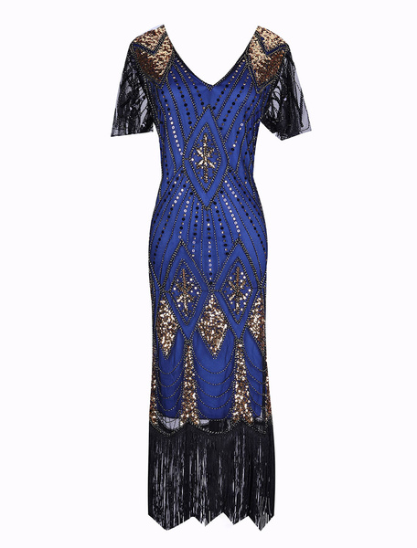 Milanoo 1920s Fashion Style Outfits Flapper Dress Great Gatsby Vintage Costume Halloween Women's Black Sequined with Tassels V Neck Short Sleeves Body
