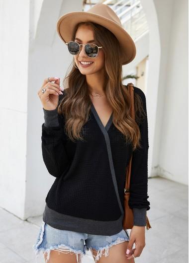 Trendy Long Sleeve Contrast Panel V Neck Sweater - M