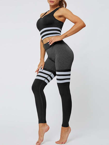Milanoo Two Piece Sets Yellow Nylon U-Neck Stripes Athletic Sleeveless Outfit For Women