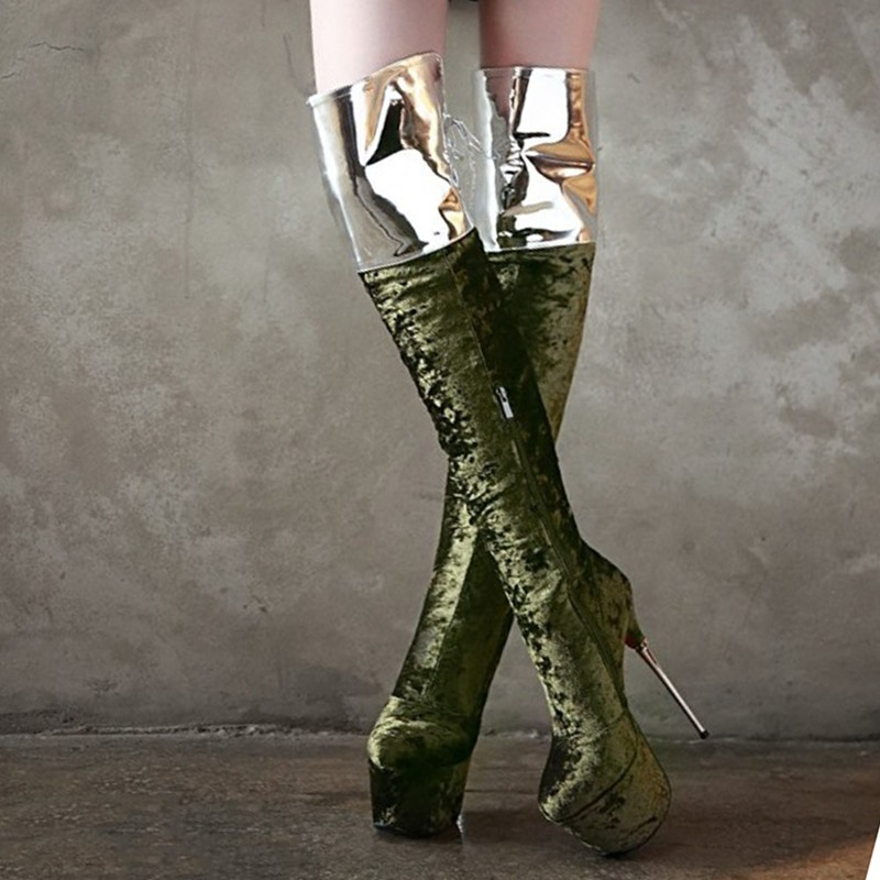 Ericdress Color Block Round Toe Stiletto Heel Banquet Boots