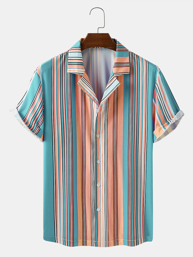 Mens Colorful Striped Breathable Short Sleeve Shirts