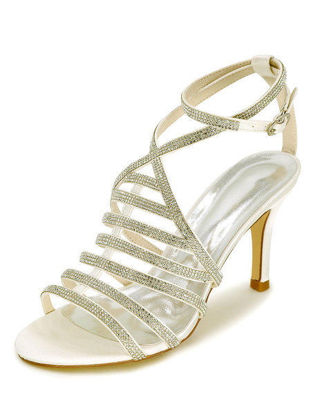 Milanoo White Wedding Shoes Gladiator Sandals Women's High Heel Rhinestones Ankle Strap Bridal Shoes