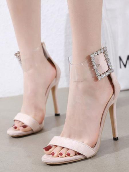 Milanoo Women\'s Pumps Peep Toe Stiletto Heel Chic Apricot Ankle Buckle Sandals