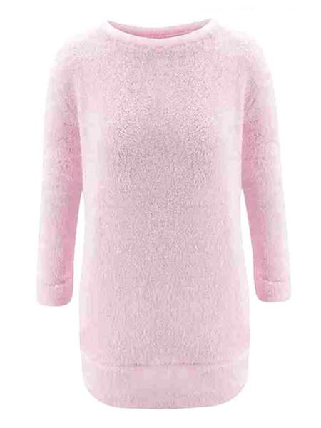 Milanoo Women Shift Dresses Pink Jewel Neck Long Sleeve Short Dress