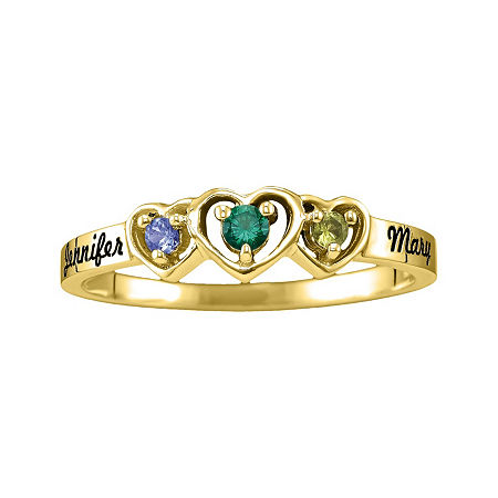 Womens Simulated Multi Color Stone 14K Gold Heart 3-Stone Cocktail Ring, 6 , No Color Family